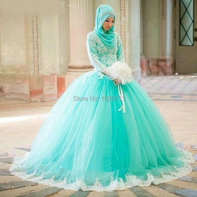 Árabe Muçulmano Vestido de Baile Quinceanera Vestidos Completa Mangas Verde da Hortelã Prom Party Vestidos Originais Do Casamento Vestidos de Noiva