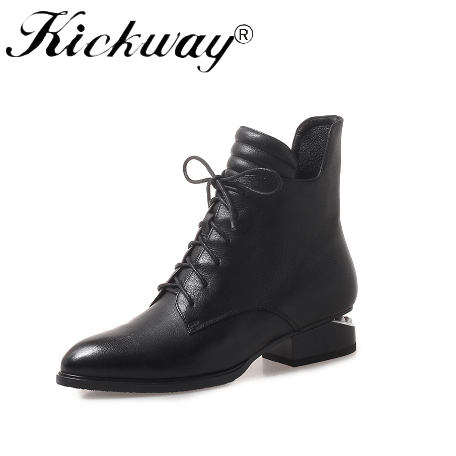Kickway Genuine Cow Leather Quality Women Chelsea Boots Brand Winter Warm Short Ankle Boots Platform Shoes Ladies Plus Size 42 free shipping 2017 winter warm dhl brand clothing vintage jackets mens genuine pakistan cow leather biker jacket plus size
