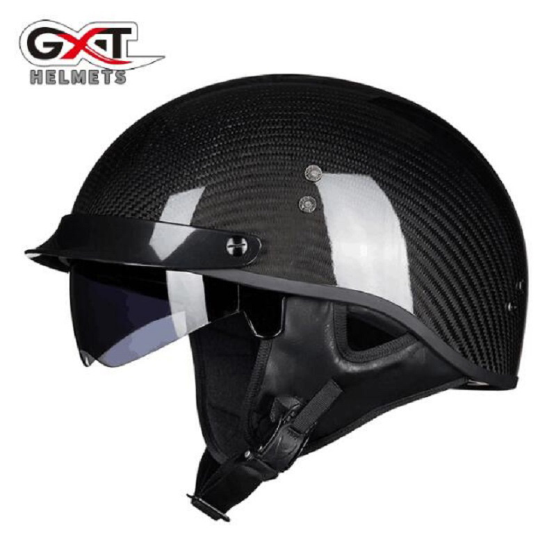 2018 Summer New GXT Retro Motorcycle Helmet Prince Half Face Motorbike Helmets Made of Carbon Fiber Black color size M L XL XXL 2018 summer new gxt half face motorcycle helmet prince retro motorbike helmets made of carbon fiber size m l xl xxl black color