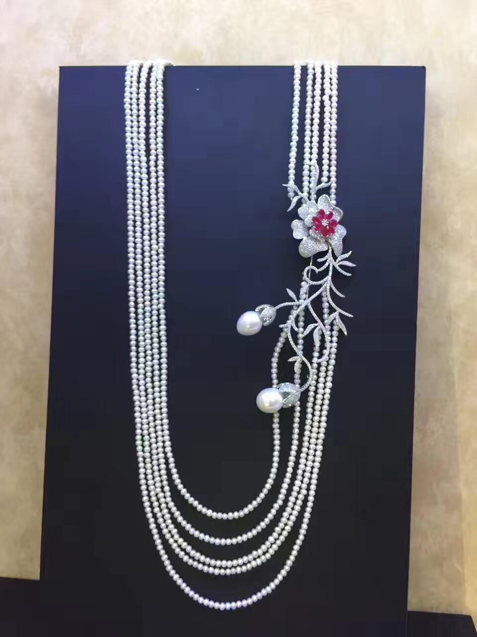 3-4 MM long collier de perles d'eau douce multi couches 925 argent sterling avec zircon cubique fleur fête collier bijoux de mode