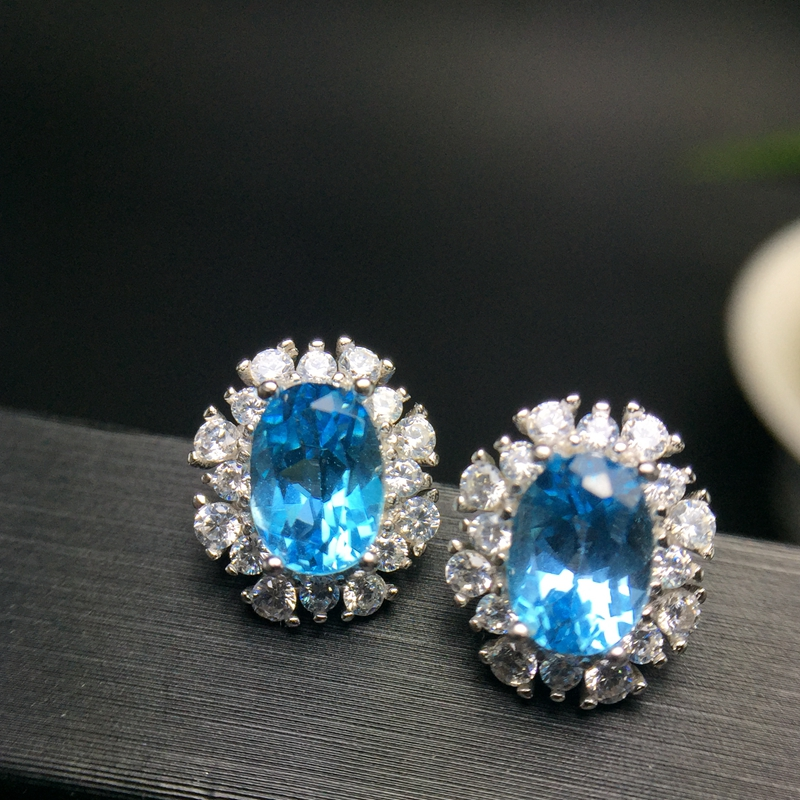 Uloveido Girl Oval Blue Topaz Stone Wedding Stud Earrings for Women 925 Sterling Silver Anniversary Earrings
