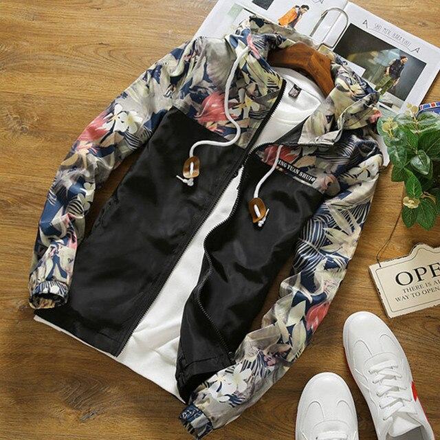 С цветочным принтом куртка Для мужчин s хип-хоп Slim Fit цветы мужской Курточка бомбер 2018 Мода Демисезонный Для мужчин; пальто с капюшоном M-4XL
