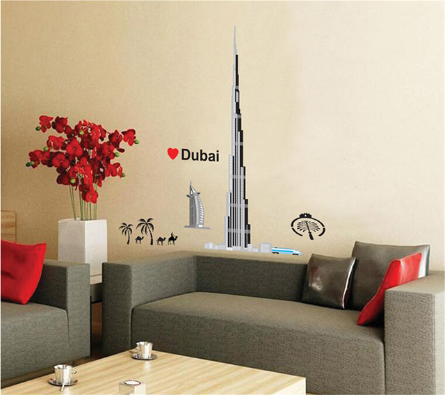 personalized fashion burj khalifah dubai landmarks wall decals