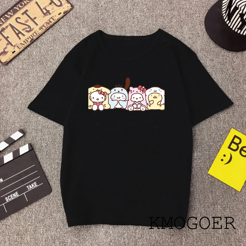 Ladies Funny Kitty Family T Shirt Cotton O-Neck Hello Kitty Print Casual Short Sleeve Harajuku Women's Black T-Shirt Polyester