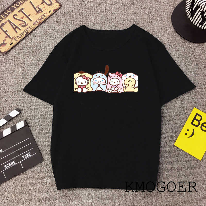 Signore Divertente Famiglia Kitty T Shirt in Cotone O-Collo Ciao Kitty Stampa Casual Manica Corta Harajuku Delle Donne di Nero T-Shirt Poliestere