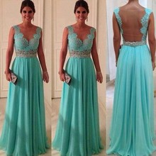 Elegant 2014 New Lace Evening Dress Green vestidos longos para formatura chiffon A Line Floor Length Gown Chiffon Prom Gowns