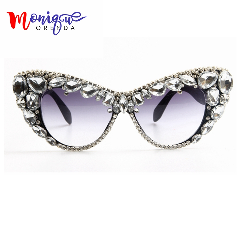 2017 Oversize Cat Eye Sunglasses Women Brand Designer Luxury Crystal Sexy Sun Glasses For Ladies Oculos