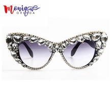 2017 Oversize Cat Eye Sunglasses Women Brand Designer Luxury Crystal Sexy Sun Glasses For Ladies Oculos De Sol Feminino
