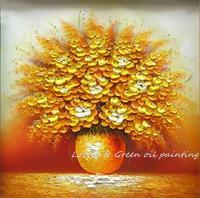 100%มือทาสีบ้านโรงแรมผนังศิลปะบลูมมิ่งดอกไม้ทองน้ำมันจิตรกรรมภาพตกแต่งห้องนั่ง