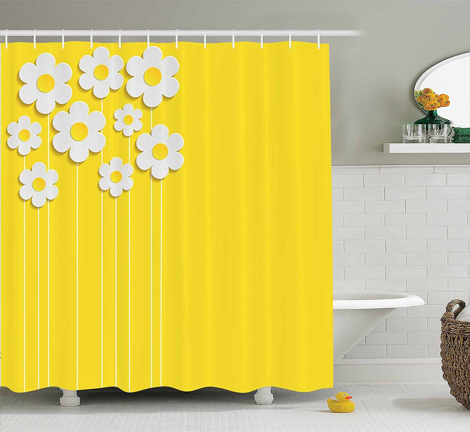 Yellow Decor Shower Curtain Set Spring Flowers Daisy Pattern On