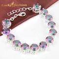 Nueva moda arco iris místico Creado topacio pulsera de alta calidad de cristal brillante pulseras para las mujeres bijoux
