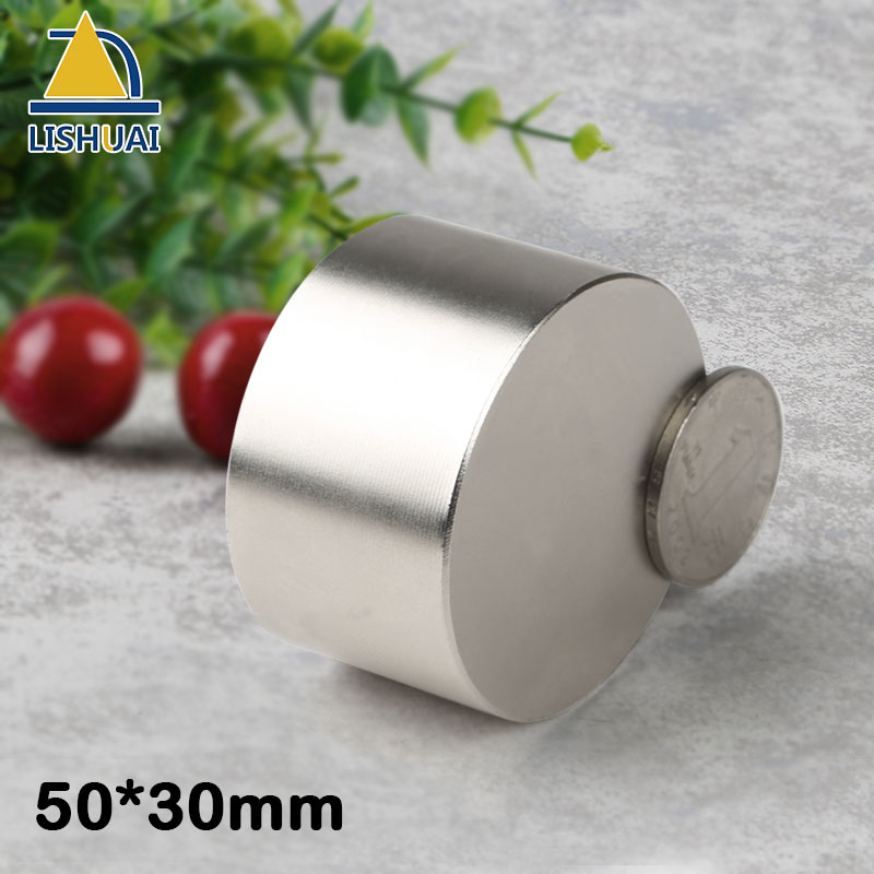 LISHUAI 1pcs Neodymium magnet N38 D50x30mm super strong round magnet Rare Earth NdFeb <font><b>50*30</b></font> strongest permanent powerful magnet image