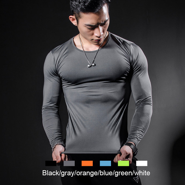 ZRCE Compression Training Fitness Gym Cross fit Bodybuilding Men  Basketball Breathable Quick Dry Solid color Running T-Shirt