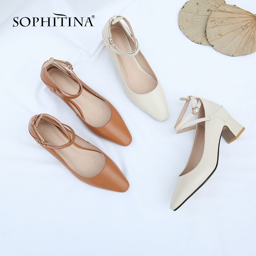 SOPHITINA Comfortable Square Heel Pumps High Quality Cow Leather Solid Fashion New Casual Shoes Hot Sale