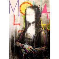 hand painted oil painting on canvas Mona Lisa Graffiti street art murals pop artist art posters Street art Living room decor