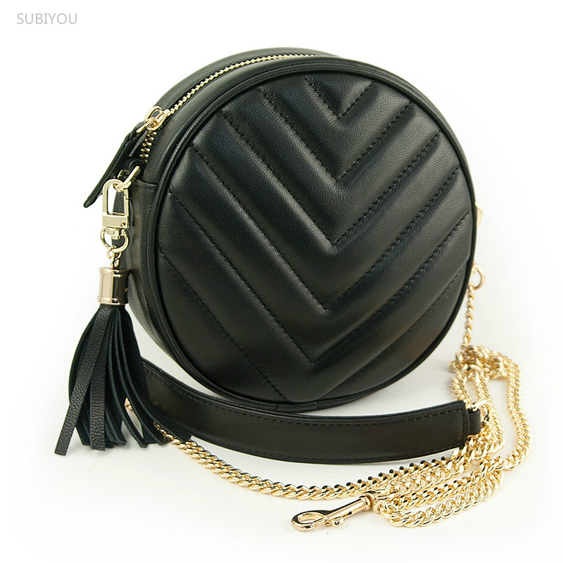 Mini Circular Genuine Leather Handbag Vintage Diamond Lattice One Shoulder Cross-body Bag Small Round Package Women Tassel Bags