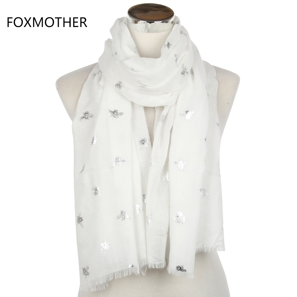 FOXMOTHER 2018 New Brand Fashion Summer White Blue Mint Bronzing Silver Bee Panal Scarf Shawls Foulard Bufanda For Womens Gifts