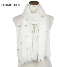 FOXMOTHER 2017 New Brand Fashion Summer White Blue Mint Bronzing Silver Bee Panal Scarf Shawls Foulard Bufanda For Womens Gifts