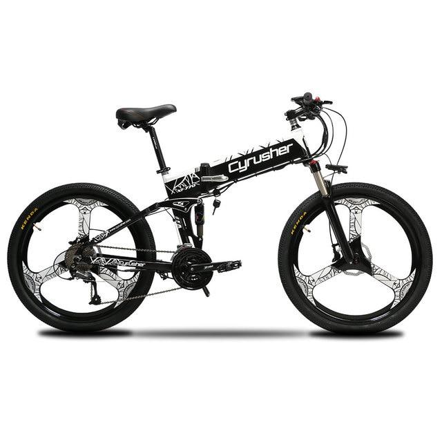 Cyrusher Обновлено XF770 горный складной электрический велосипед 250 Вт 48 В полная подвеска Электрический велосипед 27 скоростей дисковые тормоза
