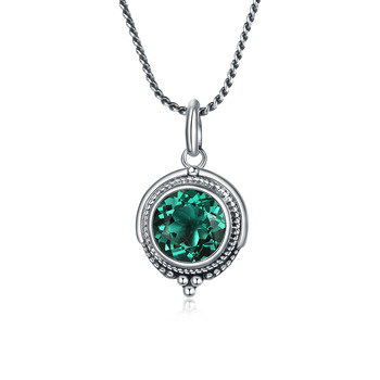 L&P Green Crystal Pendant Necklace For Lady Authentic 925 Sterling Silver Gemstone Pendant Anniversary Gift Jewelry