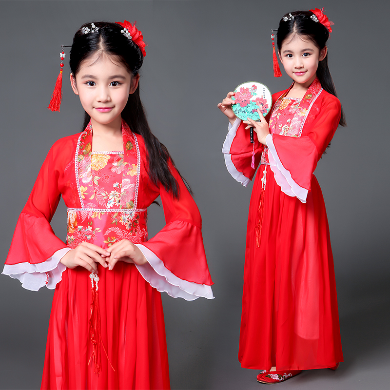 2018 autumn Kids traditional ancient chinese silk clothing for girls hanfu dance costumes folk costume girls tang fairy dress traditional ancient chinese costume for costume hanfu child girls clothing kid girls cosplay dresses dance tang dynasty costumes