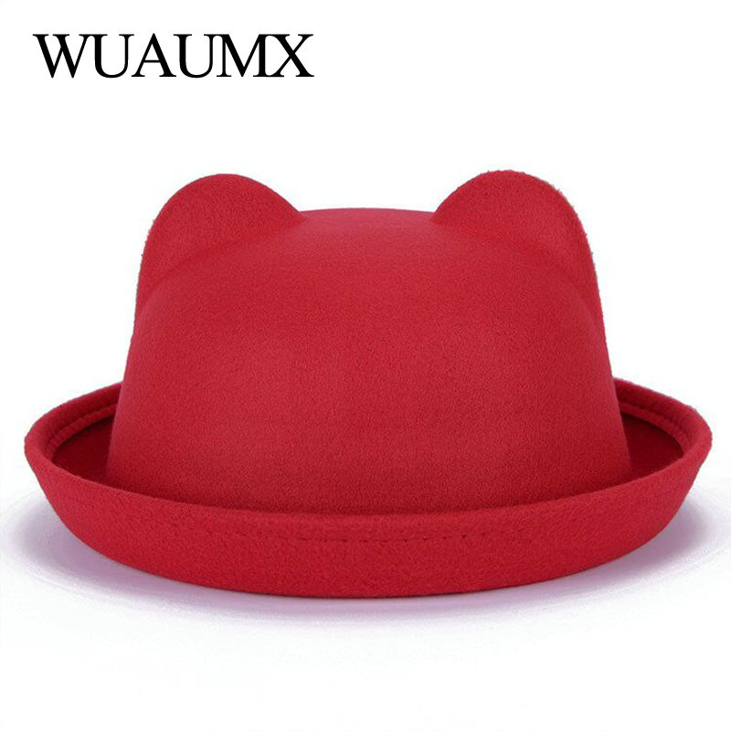 c06cf4ef2f545 ... Wuaumx Fashion Vintage Fall Winter Fedoras Hats For Women Ladies Felt  Top Hat For Girls Homburg ...