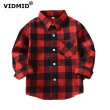 VIDMID/рубашки для мальчиков и девочек, детские майки в клетку в британском стиле, Детская школьная блуза, красные топы, одежда для детей 12 лет, 6010 01