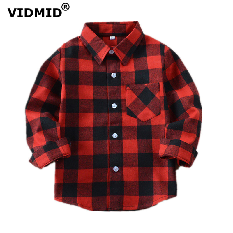 VIDMID Boys   shirts   for Girls British Plaid child   Shirts   kids school   Blouse   red tops clothes Kids Children plaid 12 years 6010 01