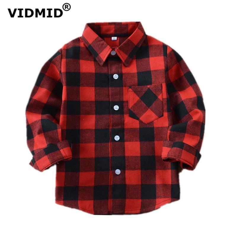 VIDMID Boys Shirts For Girls British Plaid Child Shirts Kids School Blouse Red Tops Clothes Kids Children Plaid 12 Years 6010 01