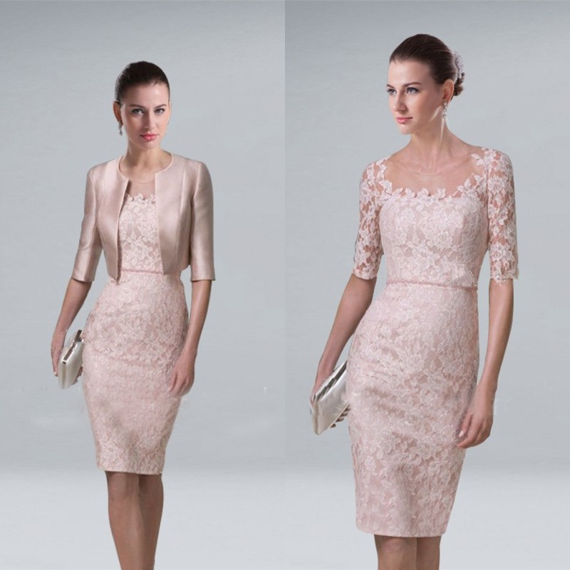 Short Elegant Mother Of The Bride Groom Lace Dresses With Jacket For Wedding Party Guest Runway