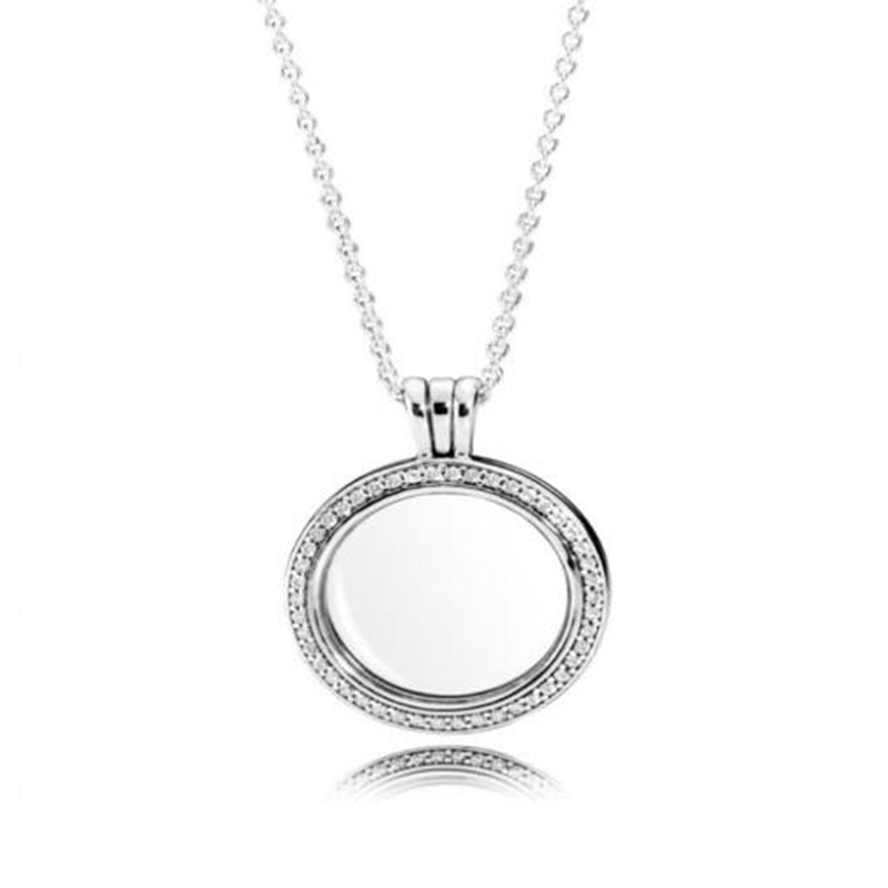 Fashion 925 Silver Necklace Charm Classic Round Floating Heart Pendant Necklace For Women Jewelry. stylish sunflower round pendant necklace for women