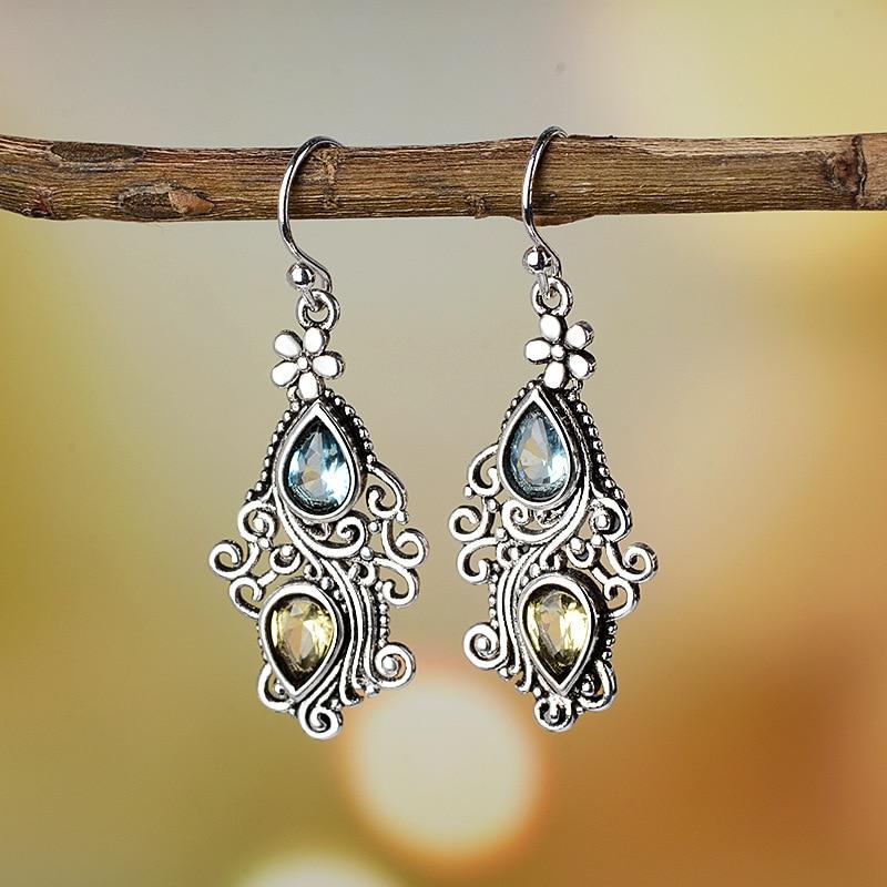 Bohemia Vintage Women Small Dangle Stone Antique Silver Earrings Carved Flower Water Drop Earring Ethnic Indian Jewelry in Drop Earrings from Jewelry Accessories