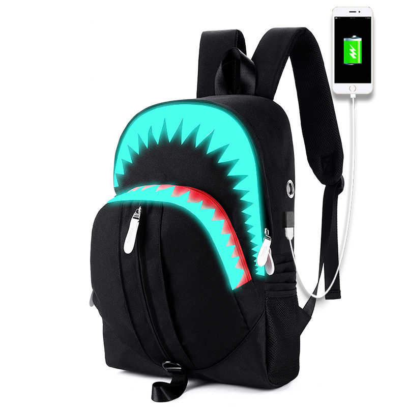 Luminous Shark Mouth School Bags For Boy Girls USB Charging School Backpack Waterproof Cartoon Schoolbag Casual Travel Bags