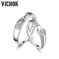 VICHOK Heart Forever 925 Sterling Silver Platinum Plated Rings Lovers For Women Men Fine Jewelry Resizable