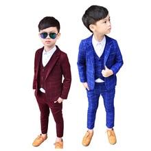 2019 New Spring Infant Boys Suits Blazers Clothes Vest Shirt Pants 3pcs Wedding Formal Party Plaid Baby Kids Boy Outerwear