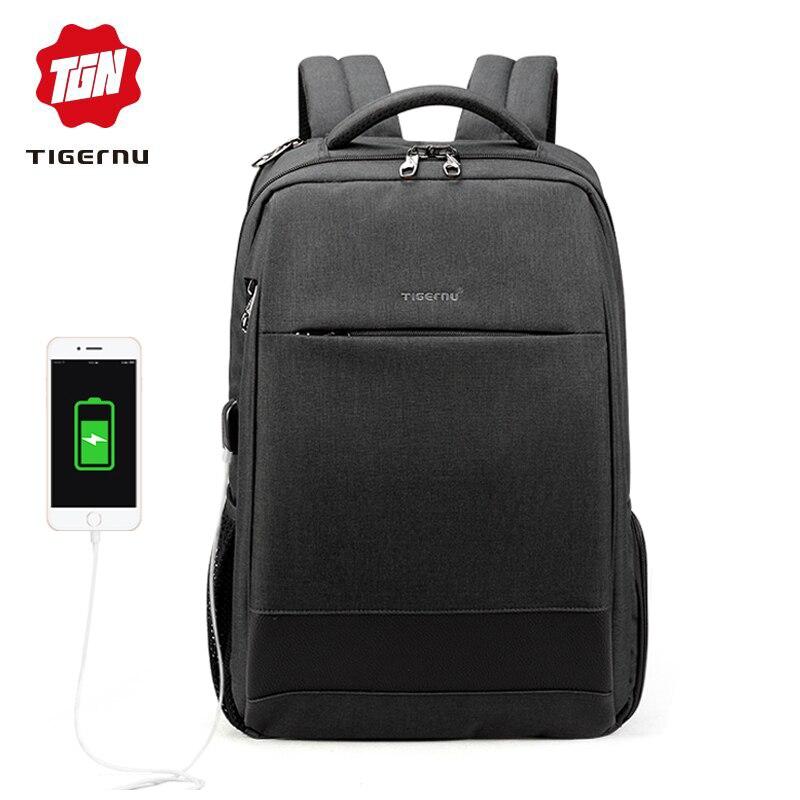 Tigernu Male 15.6 Laptop Backpack Usb Charging Backpacks Men Slim Waterproof Anti Theft School Backpack Bag Women Fashion