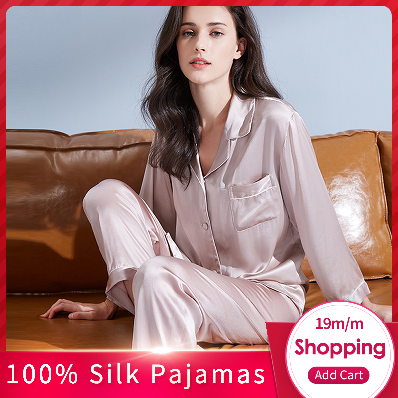 Women 19 m/m Real Silk   Pajamas     Set   2019 Solid Nightgown Pyjama Femme Sleep Lounge Bedgown Silk Girls 100% Silk Sleepwear Suits