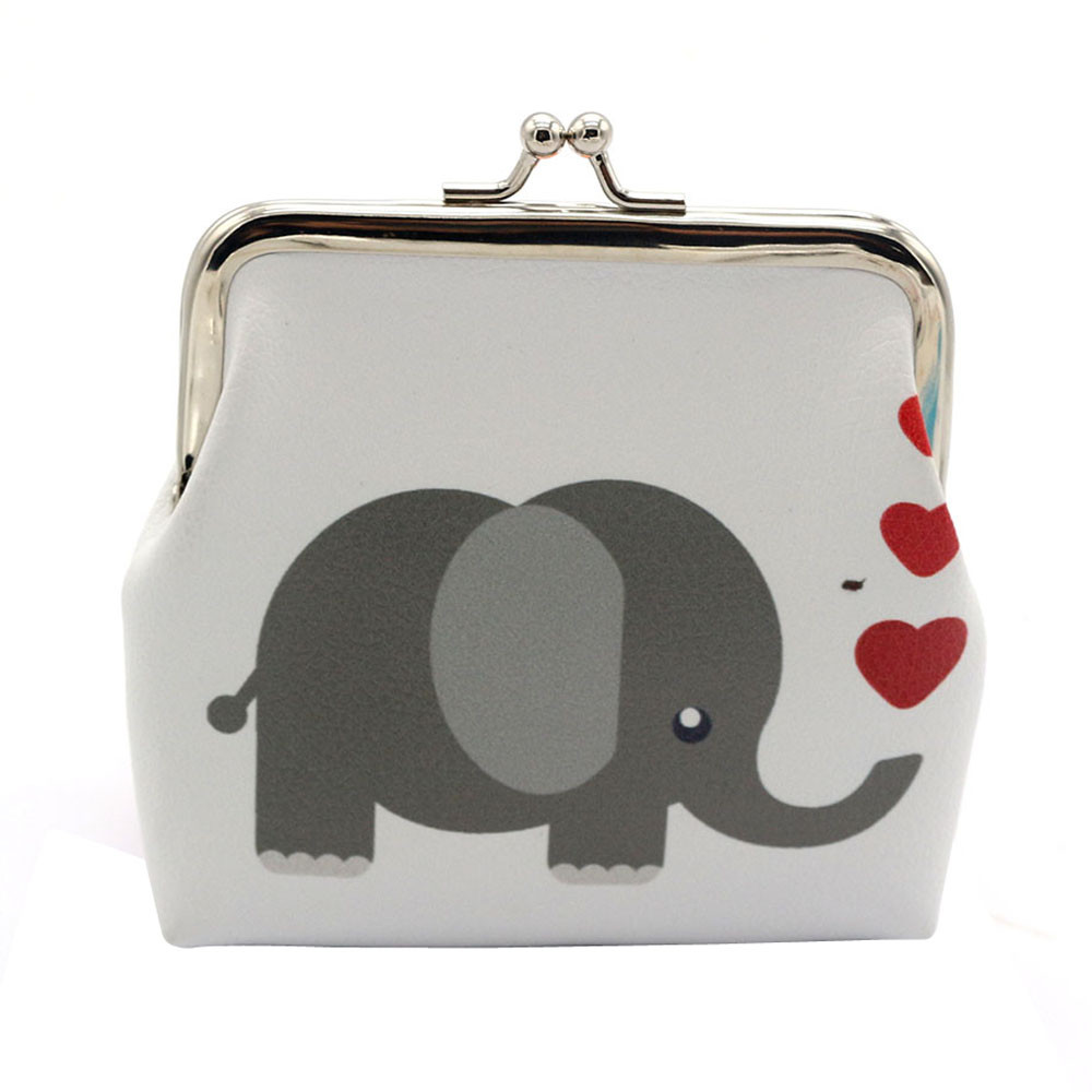 Coin Purse Women Wallet Pouch Bag Elephant Owl Printing Lady Retro Purse Leather Small Wallet Hasp Clutch Bag Girls Gift thinkthendo 3 color retro women lady purse zipper small wallet coin key holder case pouch bag new design