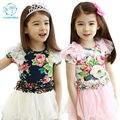 Meninas Vestido de 2017 Crianças Novas Roupas de Verão Moda Bebê Estilo menina Bonito Flores Brancas Marinha Roupas Princesa vestido de Baile vestido de Malha vestidos
