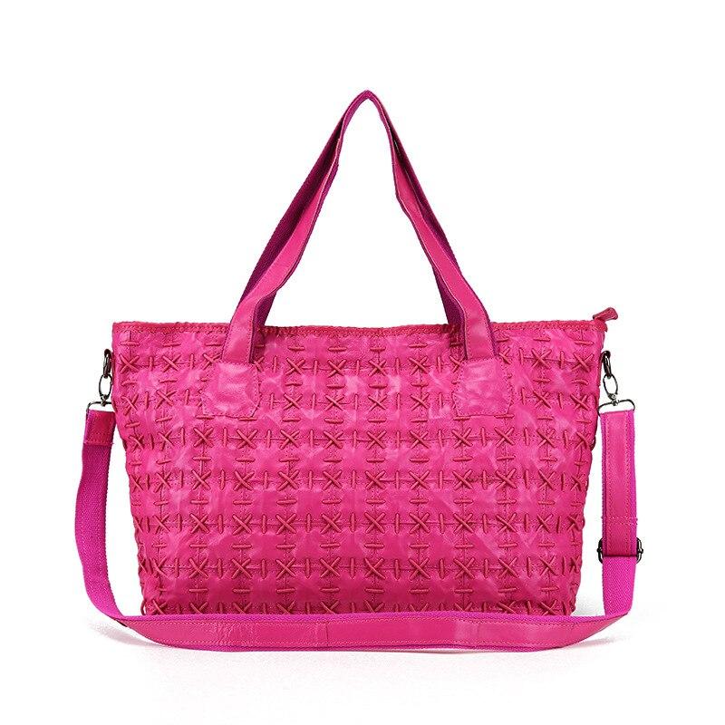 Luxe Cuir Femelle À tout Mouton rose Multicolore Couture Main Multi Fourre De Peau Tricoté Femmes Véritable Sac Grand Mode En Sacs Épaule 5cHn8q