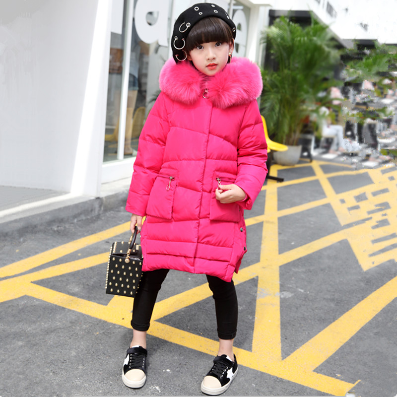 Long Solid Down Jacket For Girls Winter Coat 2017 New Fashion Hooded Big Fur Collar Warm Topcoat Big Pockets Outwear 120-160 new women winter down cotton long style jacket fashion solid color hooded fur collar thick plus size casual slim coat okxgnz 910