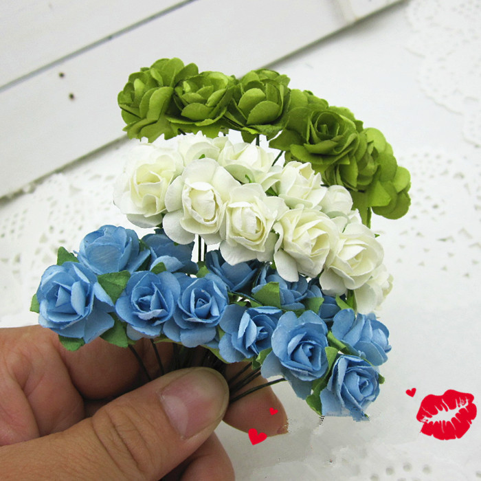 Paper flowers wedding decoration mini rose flower hand made small paper flowers wedding decoration mini rose flower hand made small wedding bouquet scrapbooking christmas decorfree shipping in artificial dried mightylinksfo