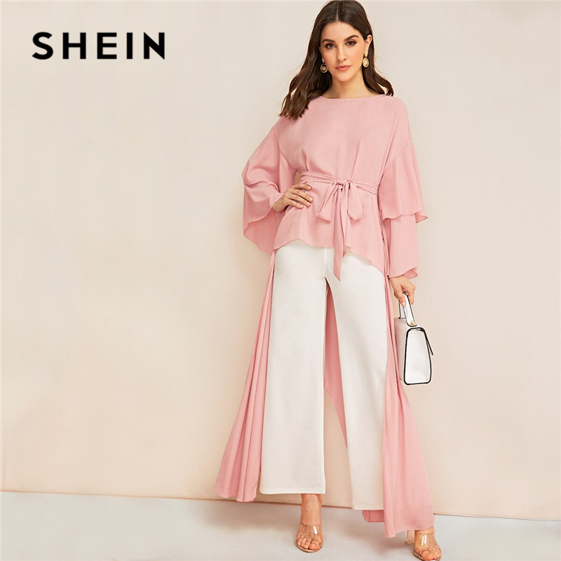 SHEIN Drop Sleeve Split Swallow Tail Belted Long Sleeve Blouse Women Pink Modest Asymmetrical Hem Blouse Solid Ladies Tops