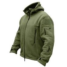 رجل عسكري الصوف التكتيكية معطف طويل الرقبة Polartec الحرارية القطبية مقنعين ملابس خارجية معطف الجيش