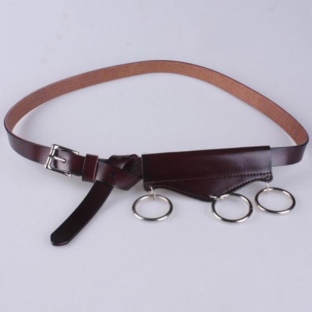 Ring Decorated With Thin Leather Belt Fur Leather Belt Personality Korean Leather Waist Decorated With Jeans Belt