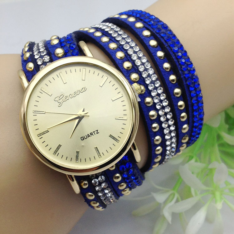 2015 new fashion 5 colors ladies luxury geneva brand quartz wristwatch women watches relogio feminino clock female WQ238
