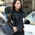 Preto Senhora Camisas De Couro PU Plus Size M-3XL Turn Down Collar Lace Patchwork Design Mulheres Blusas Casuais