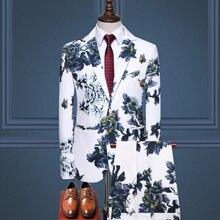 Mens Fashion Print blazer+pants 2 Pieces Set Casual Suits Plus Size High Quality Slim Fit Suit Men Singe button Wedding Costume