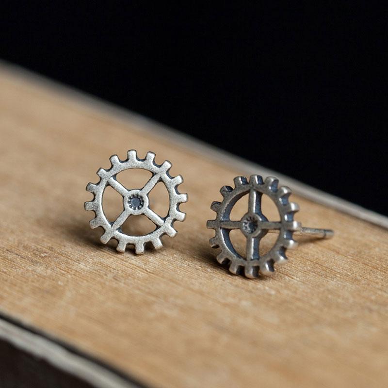 1 Pair Simple Vintage Steam Rock Studs Metal Punk Gear Stud Earrings Women Men Geeks Classic Gift Jewelry