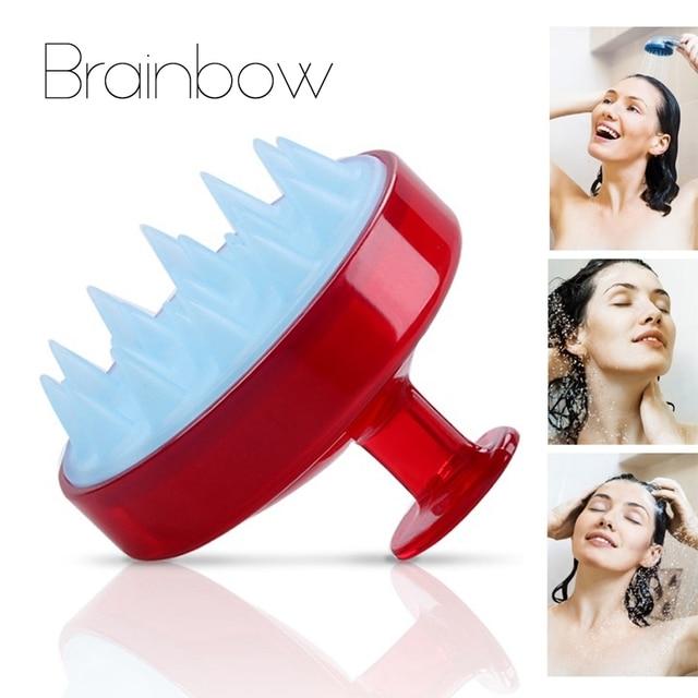 Brainbow 1 adet Şampuan Tarak Silikon Diş Saç Derisi Yumuşak Masaj Fırçası Saç Yıkama Tarak Vücut banyo masaj aleti Güzellik Spa Araçları